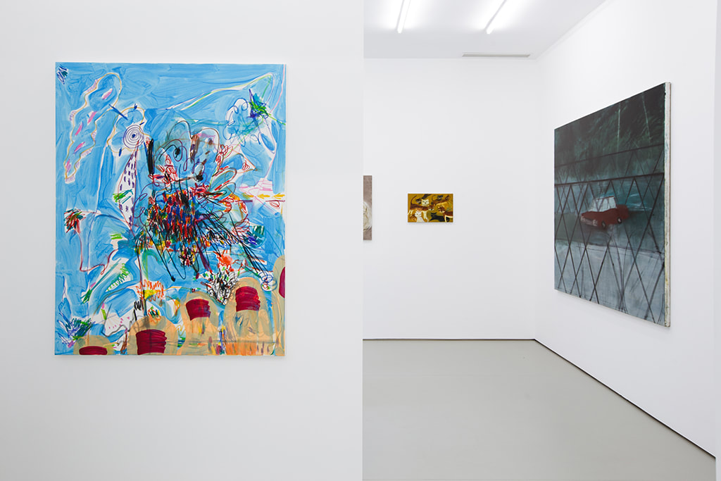 Installation view of Condo Shanghai at Gallery Vacancy with works by Wang Xiyao and Yu Nishimura.