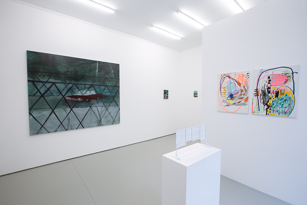 Installation view of Condo Shanghai at Gallery Vacancy with works by Yu Nishimura and Wang Xiyao.