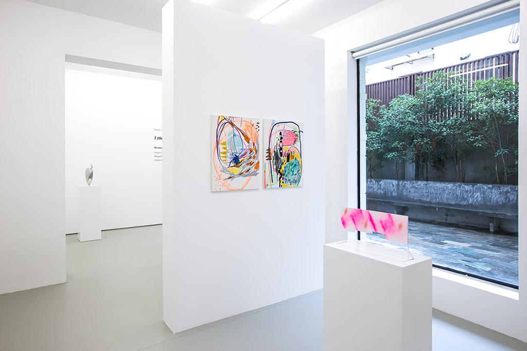 Installation view of Condo Shanghai at Gallery Vacancy with works by Margaret Lee, Wang Xiyao, and Shimon Minamikawa.