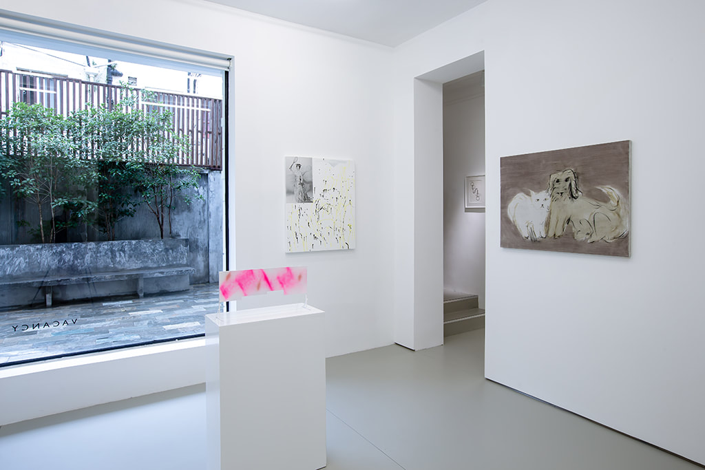Installation view of Condo Shanghai at Gallery Vacancy with works by Shimon Minamikawa and Yu Nishimura.