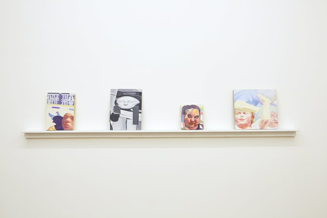 Installation view of Huang Kaiyu's paintings at Gallery Vacancy.