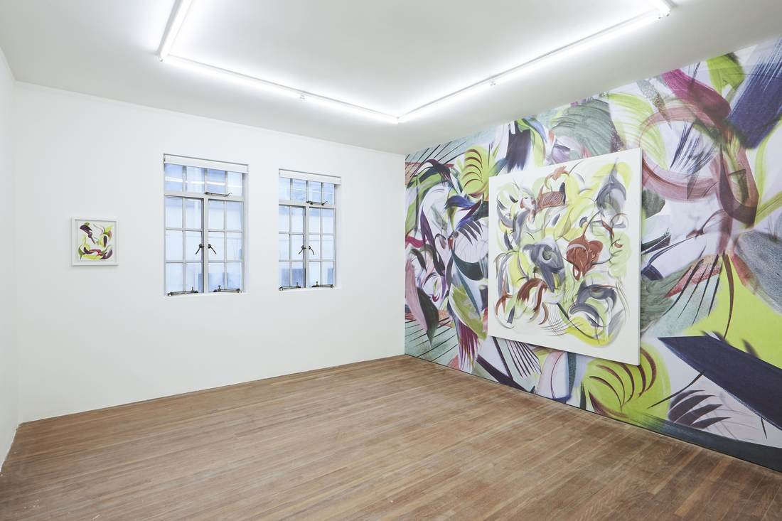 Installation view of Huang Yanyan's paintings at Gallery Vacancy.