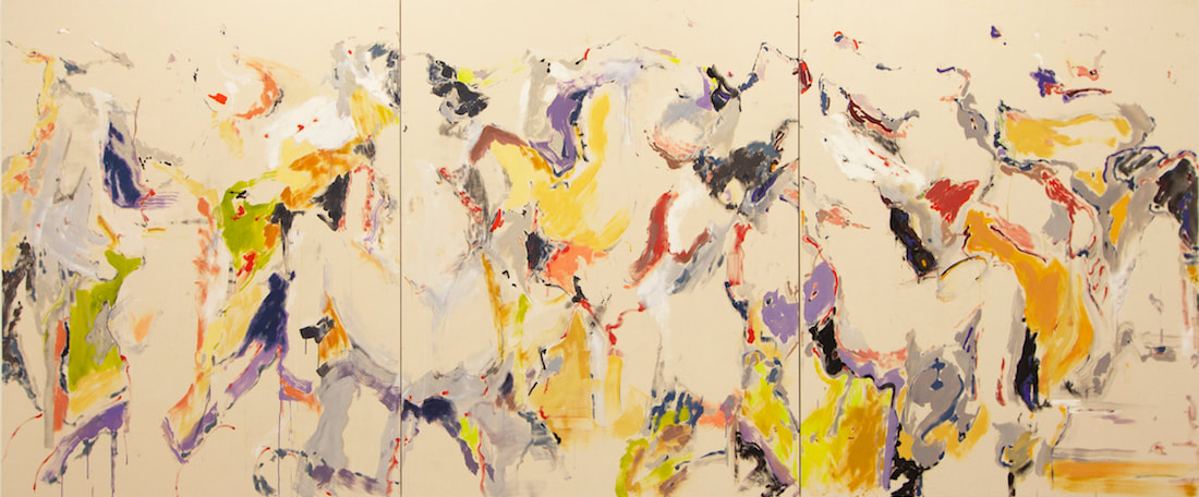 Shen Han, Petrushka, 2019, oil and charcoal on canvas, Triptych, each: 190 x 150 cm (74 3/4 x 59 in)