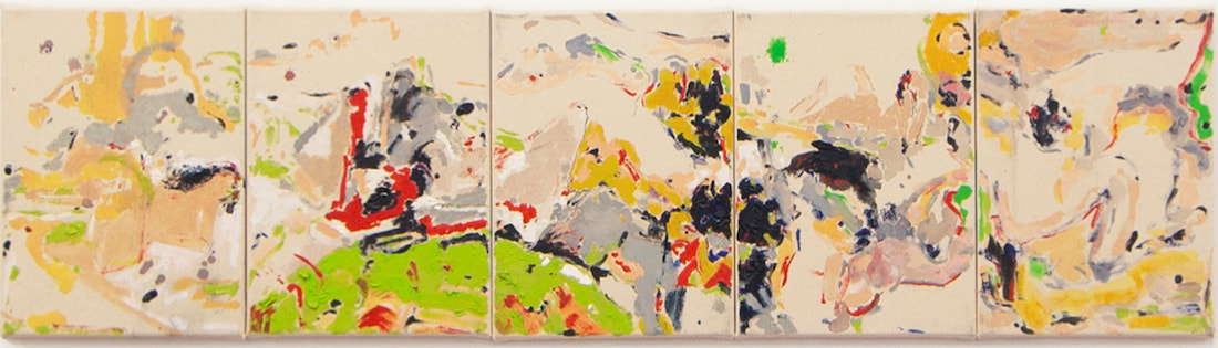 Shen Han, Midsummer Madness, 2019, oil and charcoal on canvas, Pentaptych, each: 40 x 30 cm (15 3/4 x 11 3/4 in)